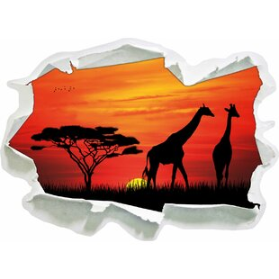 African Giraffes In Sunset Wall Sticker By East Urban Home