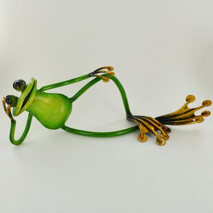 Animal Relaxing Metal Garden Frog Statue By Happy Larry