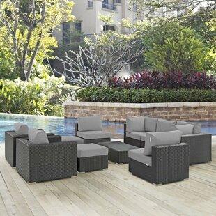 Brayden Studio Leda 10 Piece Rattan Sunbrella Sectional Seating Group with Cushions