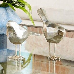 Glam Polystone Faceted Bird 2 Piece Sculpture Set