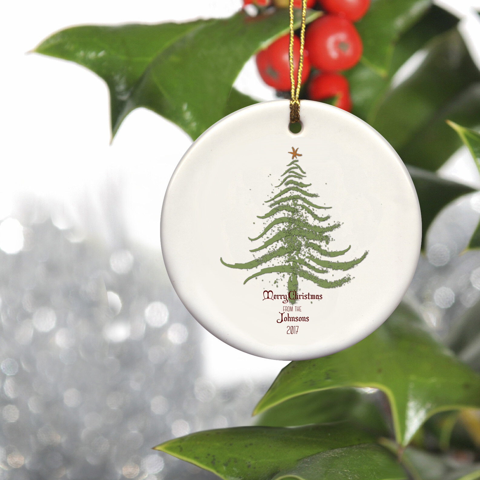 Christmas Leaf Name.Personalized Family Name Ceramic Ornament