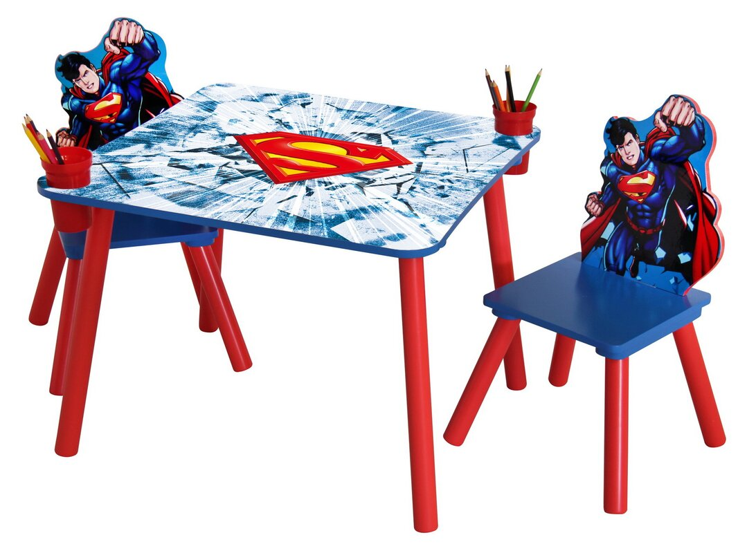 Warner Brothers Superman Wooden Kids 3 Piece Table and Chair Set
