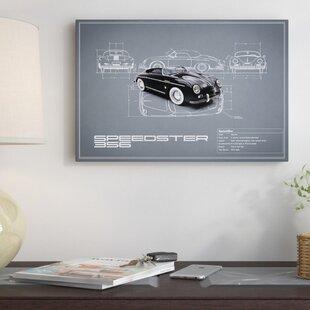 '1959 Porsche 356 Speedster' Graphic Art Print on Canvas in Gray ByEast Urban Home