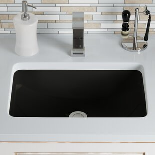 Vitreous China Rectangular Undermount Bathroom Sink with Overflow ByMR Direct