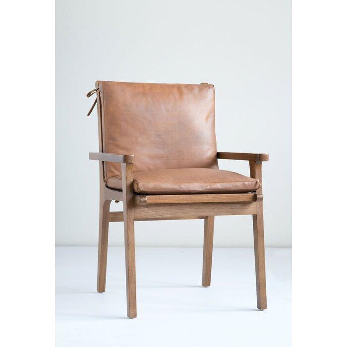 Apatow Leather & Cedar Wood Armchair