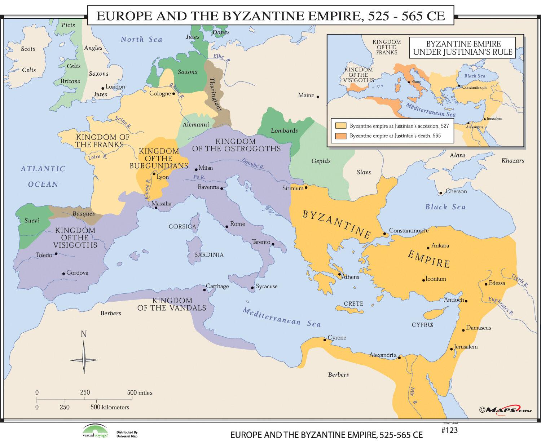 Universal Map World History Wall Maps Europe Byzantine Empire Wayfair