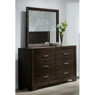 Wrought Studio Covington 6 Drawer Double Dresser with Mirror