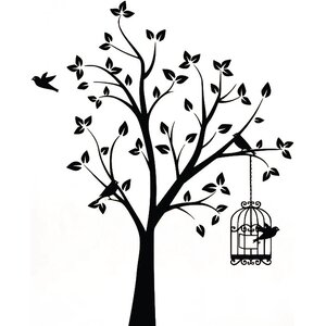 Shabby Elegance Bird Tree and Cage Wall Sticker