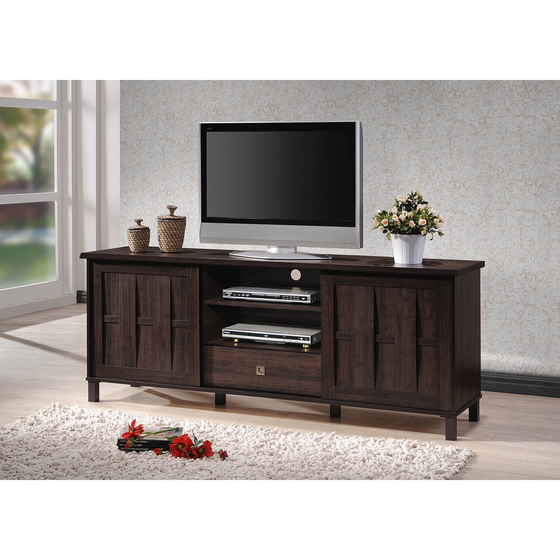 Whole Interiors Baxton Studio Tv Stand For Tvs Up To 78 Reviews Wayfair