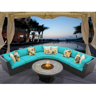 TK Classics Barbados 6 Rattan Sectional Set with Cushions