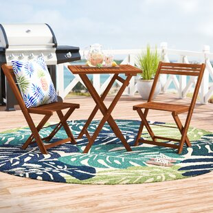 Beachcrest Home Aranmore 3 Piece Outdoor Square Bistro Set