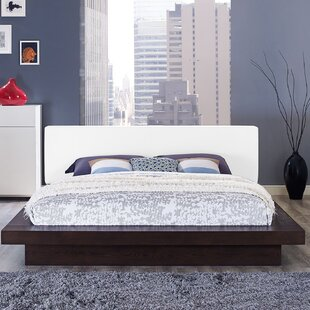 Rennan Vinyl Queen Upholstered Platform Bed