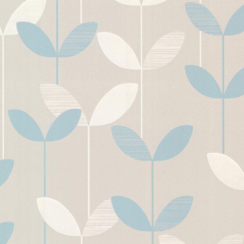 "Brewster Home Fashions Elements Ernst Linear Leaf 33' x 20.5"" Floral 3D Embossed Wallpaper"