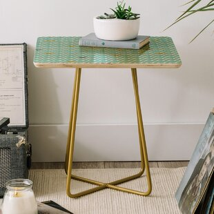 Heather Dutton Take Flight Aqua End Table by East Urban Home