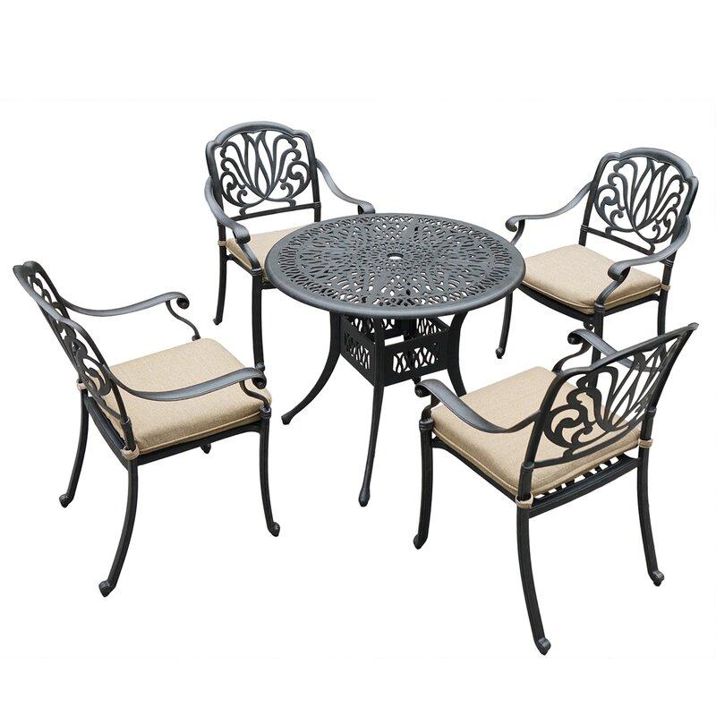 Astoria Grand Fariha 5 Piece Dining Set with Cushions