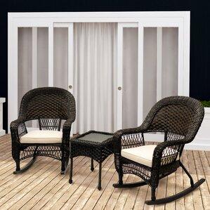 veranda 3 piece rocking chair set with cushions - Wicker Rocking Chair