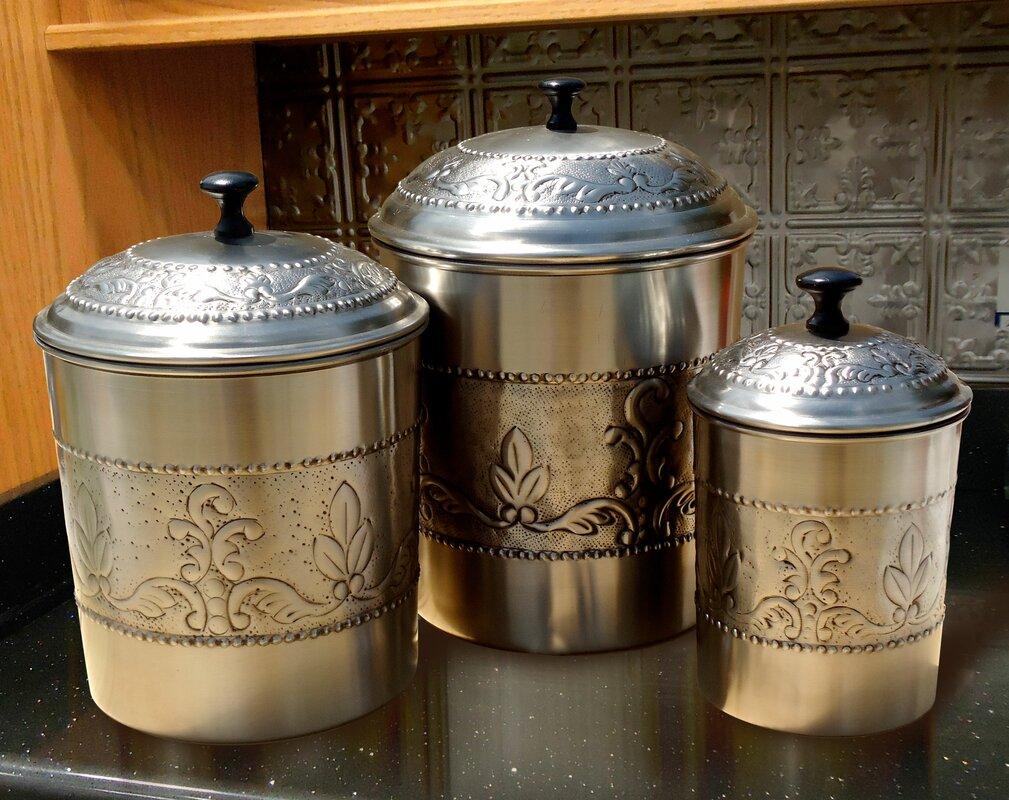 old dutch victoria 3 piece kitchen canister set reviews wayfair default name