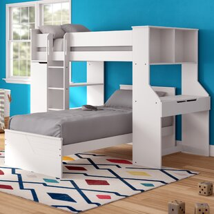 Facey Twin LShaped Bunk Bed with Bookcase and Drawers