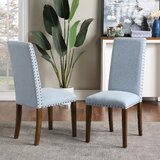 Vernal Upholstered Parsons Chair in Light Blue (Set of 2) by Red Barrel Studio®