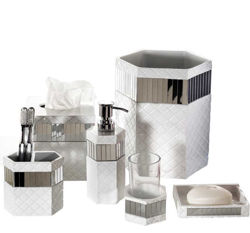 Creative Scents Quilted Mirror 6 Piece Bathroom Accessory Set