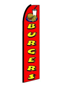 Burgers Polyester 11'6 X 3'2 Feather Banner by NeoPlex