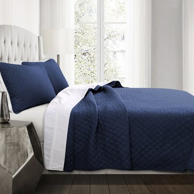 The Twillery Co. Shuler 3 Piece Quilt Set Size: Full/Queen, Color: Navy