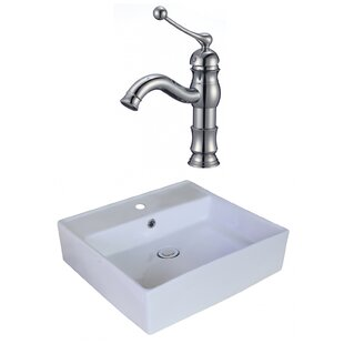 Buying Ceramic Square Vessel Bathroom Sink with Faucet and Overflow By American Imaginations