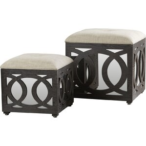 Yarm Mirrored Square Nesting 2 Piece Ottoman Set by House of Hampton