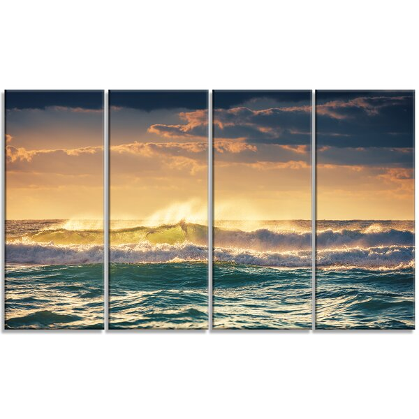DesignArt \'Sunrise and Shining Waves in Ocean\' 4 Piece Wall Art on ...