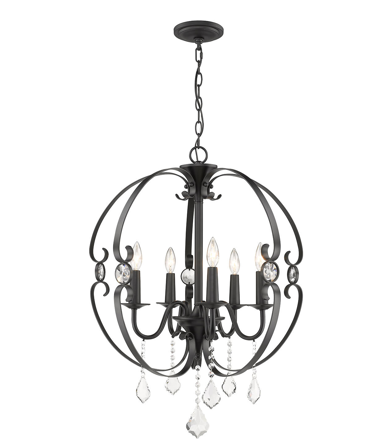 Image of: Whitcher 5 Light Candle Style Globe Chandelier Crystal Accents Reviews Joss Main