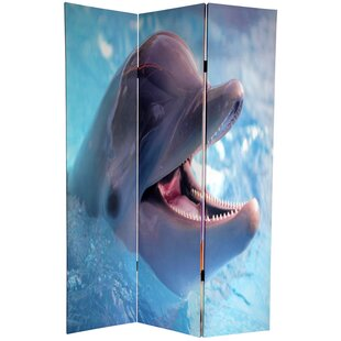 East Urban Home Dolphin and Clownfish 3 Panel Room Divider