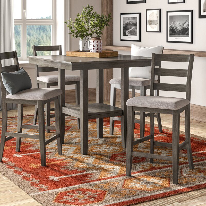 White Cane Outdoor Furniture, Millwood Pines Sela 5 Piece Counter Height Dining Set Reviews Wayfair