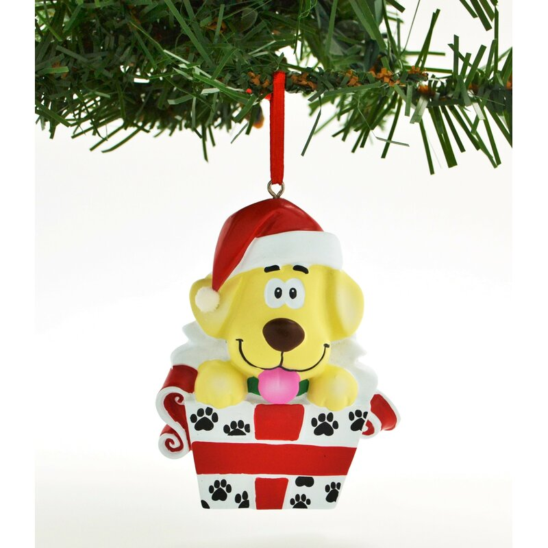 Personalized Christmas Tree Ornament Holiday Gift Santa with Gift Box and Child