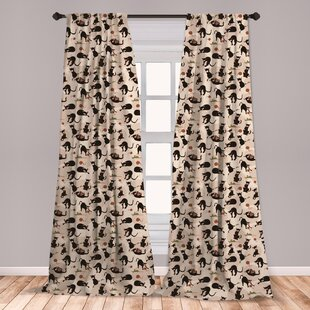 Ambesonne Cat Curtains, Hand Drawn Feline Pattern House Pet Playing With  Mouse And A Ball Of Yarn, Window Treatments 2 Panel Set For Living Room ...