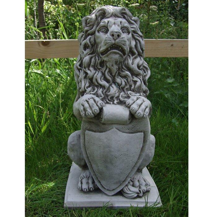Luna Shield Lion Garden Statue