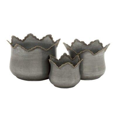 Bungalow Rose Haouz 3-Piece Metal Pot Planter Set