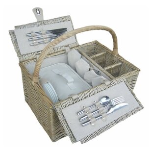 Retro Double Lidded 4 Person Fitted Wicker Picnic Basket By August Grove