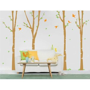 4 Super Colorful Birch Trees Wall Mural