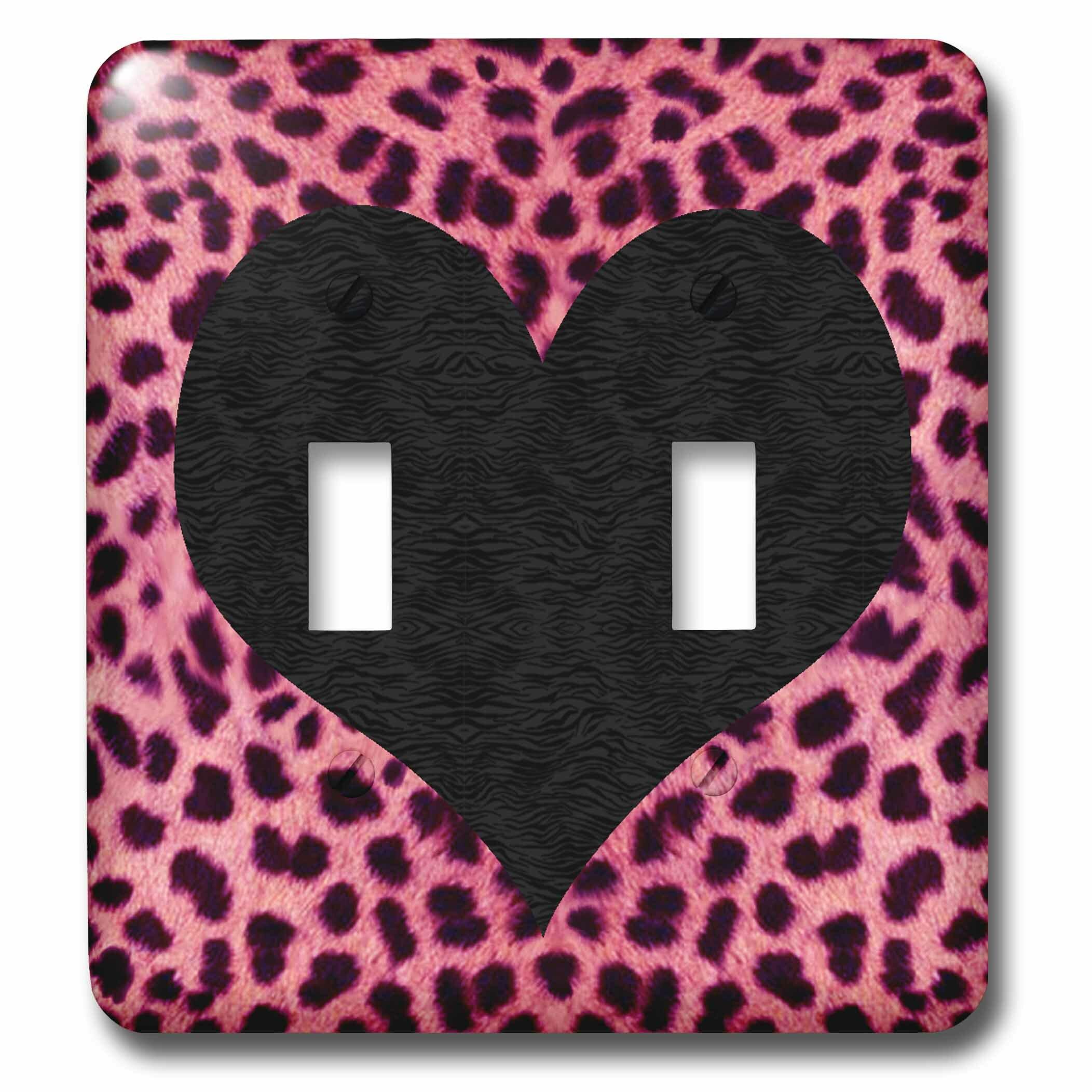 3drose Punk Rockabilly Cheetah Animal Print Heart 2 Gang Toggle Light Switch Wall Plate Wayfair