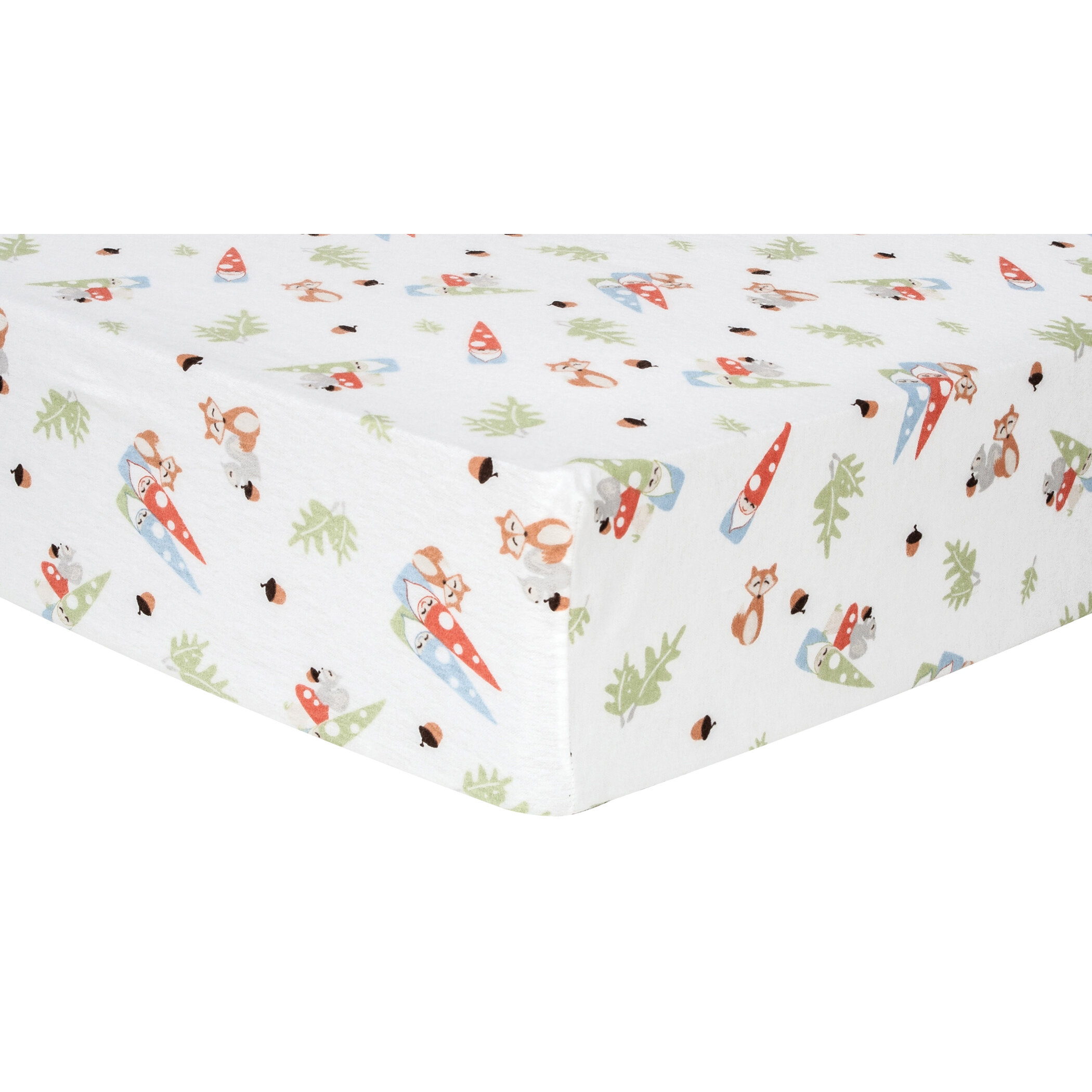 Garden Gnomes Deluxe Flannel Fitted Crib Sheet