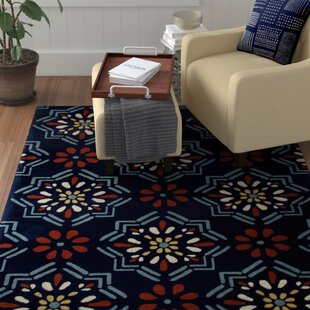 Vasquez Dark Blue/Orange Indoor/Outdoor Area Rug