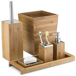 The Twillery Co. Eliseo Munroe Bamboo 6 Piece Bathroom Accessory Set