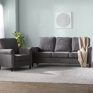 Hayton Fabric Modern 2 Piece Wood Framed Living Room Set by Charlton Home