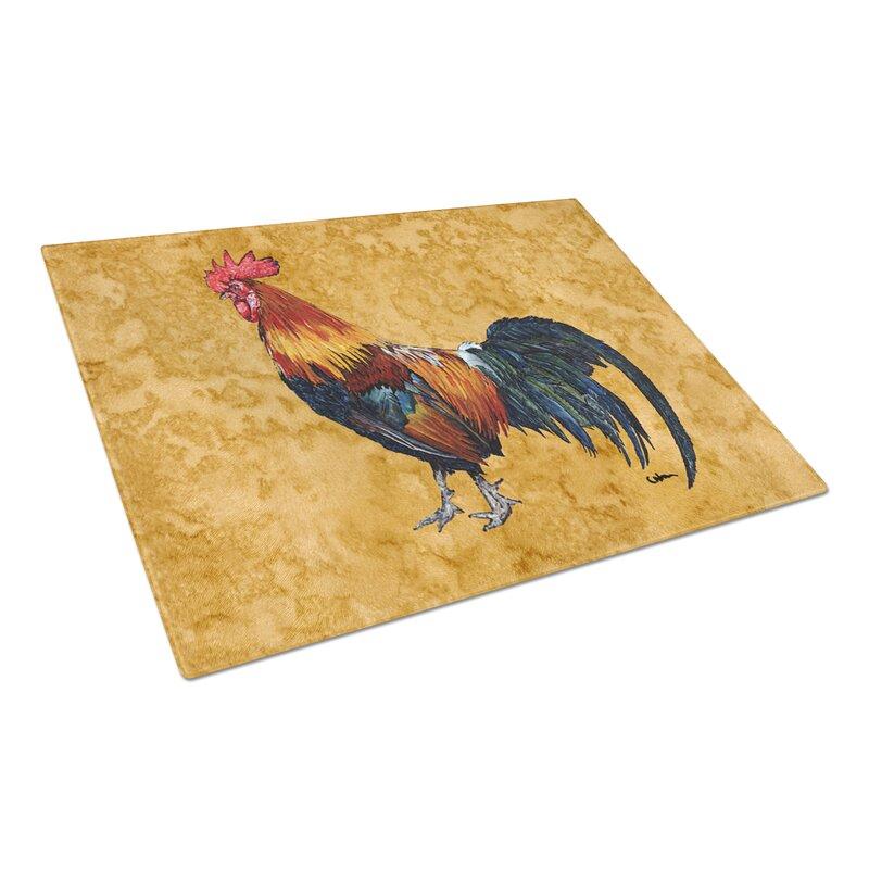 August Grove Jaiden Rooster Glass Cutting Board Wayfair