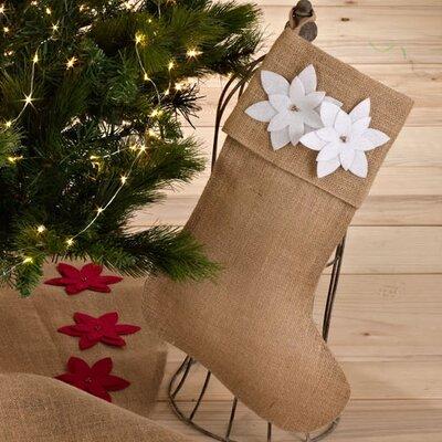 Poinsettia Design Christmas Stocking