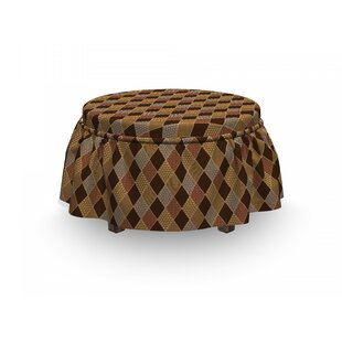 Earth Tones Lozenge 2 Piece Box Cushion Ottoman Slipcover Set By East Urban Home