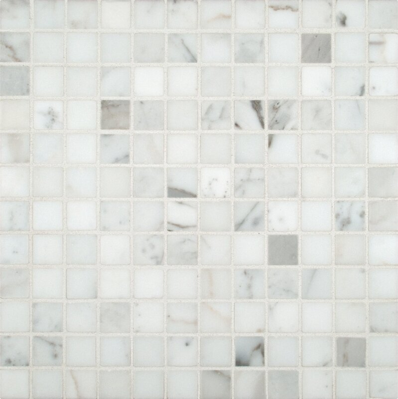 Calacatta Gold 1 X Marble Mosaic Tile In White