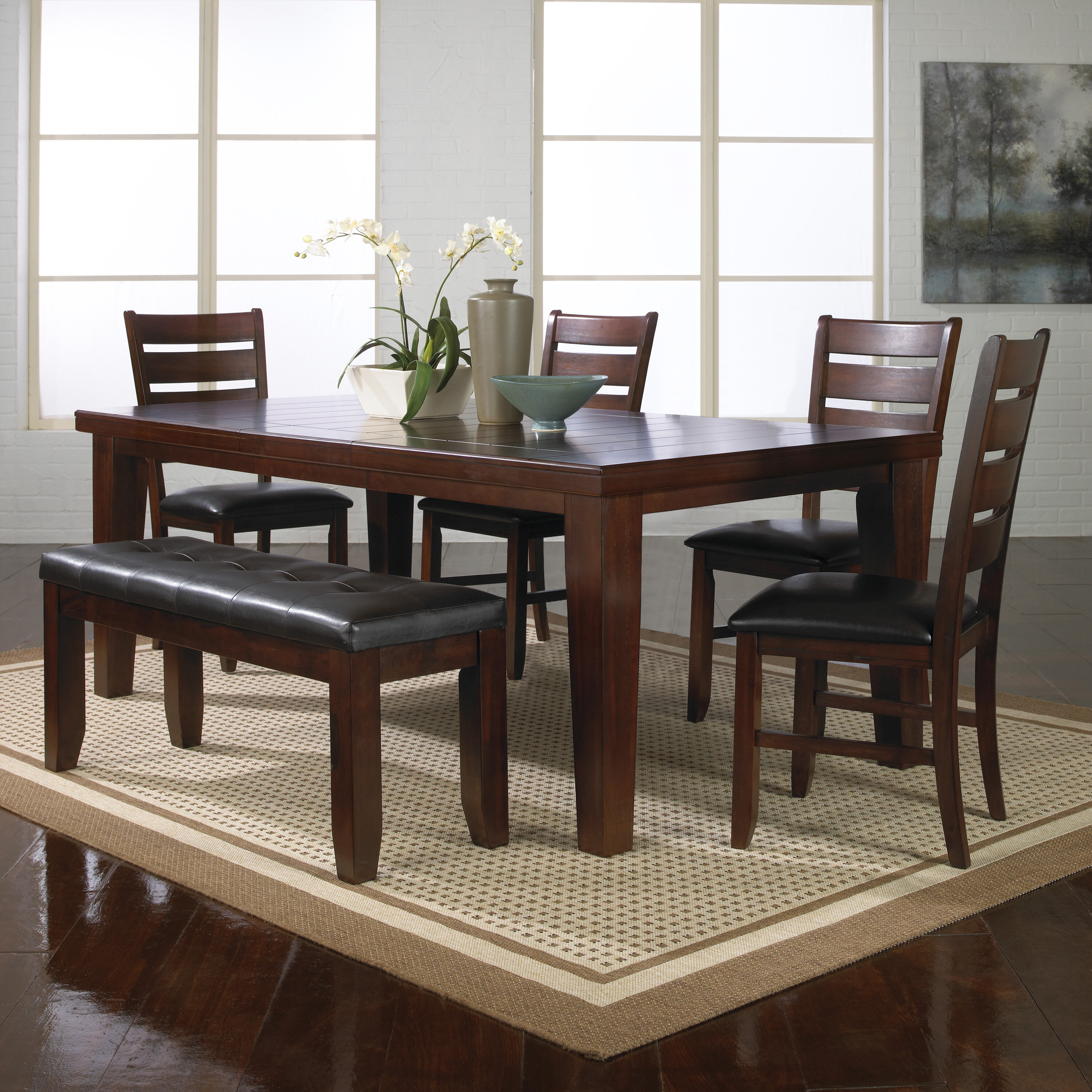 Stephentown Extendable Rubberwood Solid Wood Dining Set