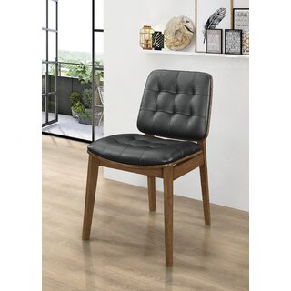 Alwyn Tufted Back Dining Chairs Black And Natural Walnut (Set Of 2) (Set of 2) by Langley Street SKU:DA907798 Details