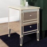 Borkholder Mirrored 2 Drawer End Table by Willa Arlo Interiors